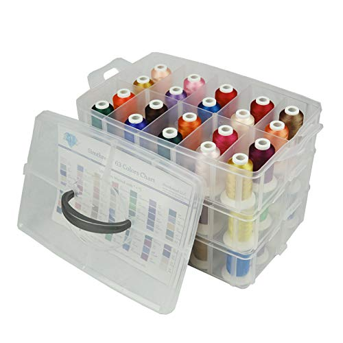 Simthread Machine Embroidery Thread Polyester 63 Colors with Plastic Storage Box for Embroidery,Sewing Machines