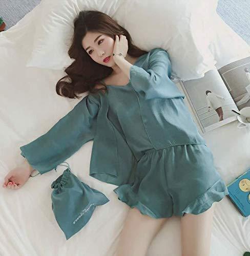 Shorts Pijamas Camisón Larga Fino Pijama Conjunto L Volantes Mujer De Manga Ahsxl 3pcs Conjuntos Con f7PIqq