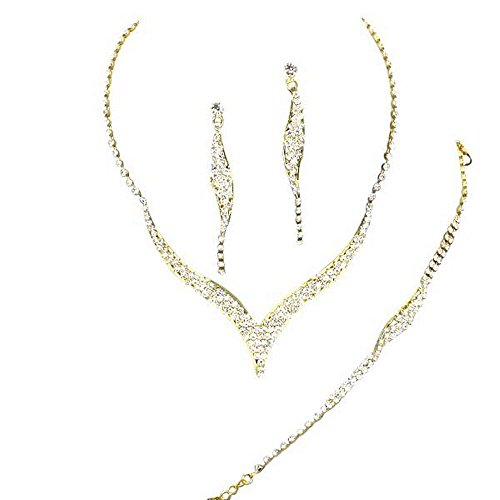 AFFORDABLE-Sparkly-3-Piece-BRIDESMAID-BRIDAL-NECKLACE-EARRING-and-BRACELET-On-Gold-Tone-DE4