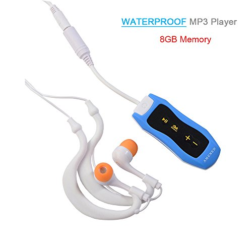 Waterproof MP3 Player, AMENER IPX8 Standards 8GB Portable Underwater MP3 Music Player with FM Radio ( Blue)