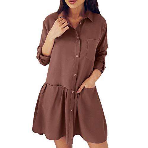 kaifongfu Casual Women Autumn Dress with Pocket Loose Blouse Dress(Brown,XL) -
