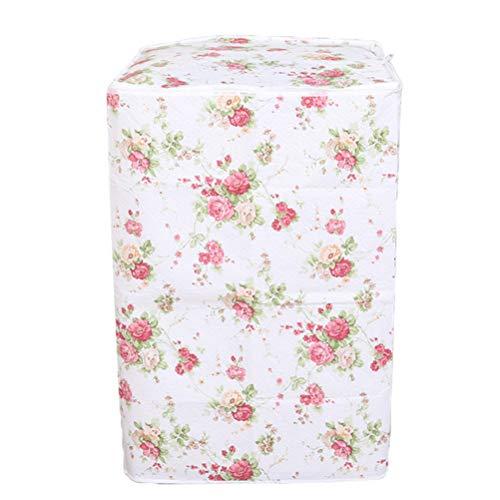 Vosarea Washing Machine Cover Top Load Automatic Washer Dryer Cover Waterproof Dustproof Anti-splash 54 x 54 x 82cm(Peony Flower Patterns)