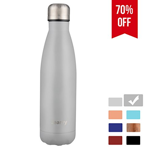 Jearey Water Bottle Vacuum Insulated 16oz Stainless Steel Double Walled Keep Cold and Hot Leak Proof BPA Free Outdoor Sports Drinking Bottle Light Grey