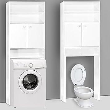 Cupboard Cabinet Bathroom Toilet Recess For Washing Machine 195x63x20cm  White Laundry Room Storage