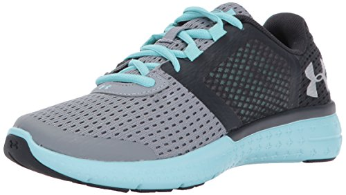 Under Armour Girls' Grade School Micro G Fuel RN, Steel/Blue Infinity/Metallic Silver, 5 M US Big Kid by Under Armour