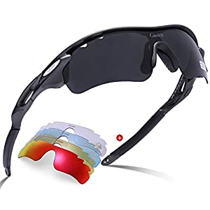 Carfia Polarized Sports Sunglasses for Men Women Driving Running Fishing Golf, TR90 Unbreakable Frame 100% UV400 Protection (Grey Lens-2, Multicoloured)