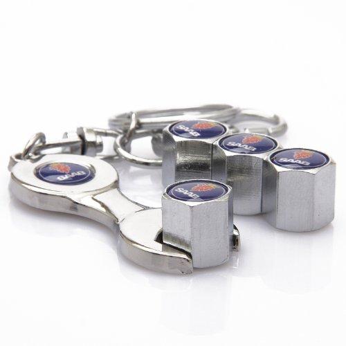 D/&R/® Wrench Keychain Chrome Tire Valve Stem Caps For Saab