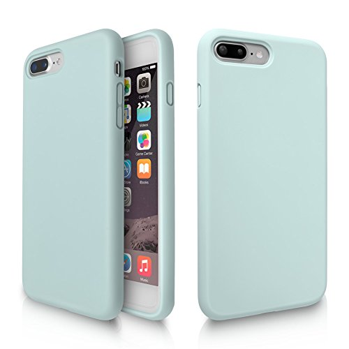 iPhone 8 Plus Case, iPhone 7 Plus Case, Fuleadture Liquid Silicone Gel Rubber Shockproof Soft Full Protective Cover with Microfiber Cloth Lining Cushion for Apple iPhone 7 Plus/8 Plus - Mint