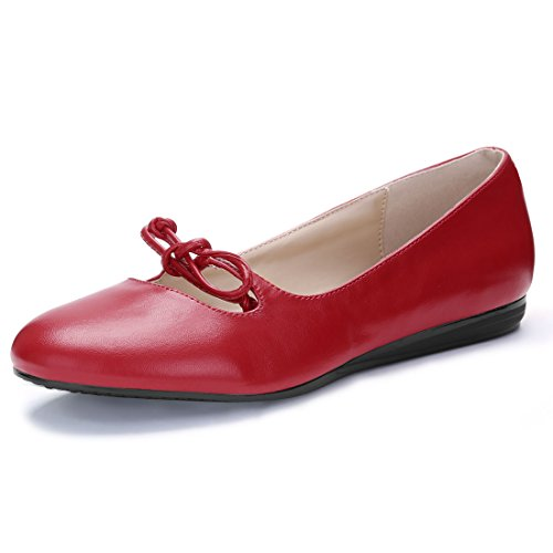 Cut Out Ballet Flat (Allegra K Women's Cut Out Bow Decor Rounded Toe Ballet Flats (Size US 9.5) Red)