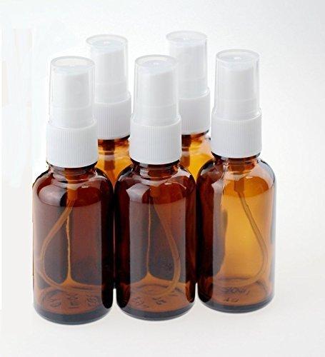 5 X botellas de vidrio color ámbar 50 ml aromaterapia con tapa blanca pulverizador. Frasco