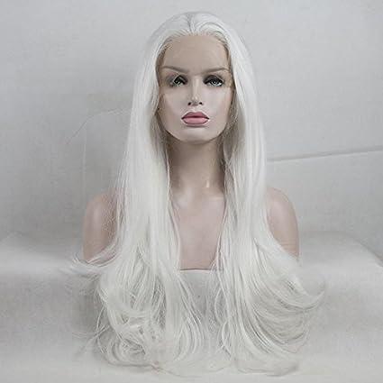Royalvirgin Peluca larga ondulada blanca asequible para mujeres afroamericanas de aspecto natural pelucas sintéticas parte libre