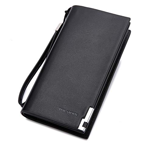 FUR JADEN Women's Leather Stylish Long Ladies Wallet with Zip Pocket, Multiple Card Holders and Phone Pocket (Black)