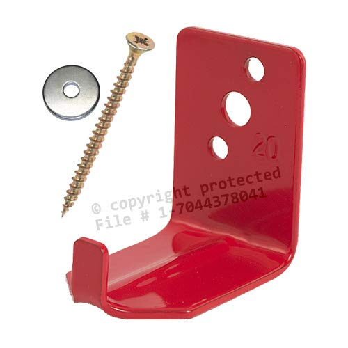 (Universal Fire Extinguisher Wall Hook, Mount, Bracket, Hanger for 15 to 20 Lb. Extinguisher - FREE SCREW & WASHER INCLUDED)