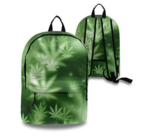YongColer Casual Backpck Big Capacity Anti-Theft Multipurpose Bookbag Backpack for Sports Outdoors Running - Psychedelic Marijuana Leaf Weed Pot Leaf, Boys Girls Gift, Travel Hiking Camping Rucksack