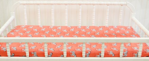 New Arrivals Changing Pad Cover, Zebra Parade in Coral