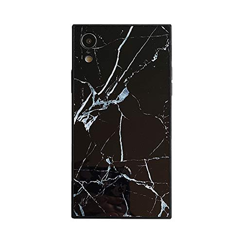 Chic Square Marble Case for iPhone XR Retro Classic Glossy Cover Slim Soft Flexible TPU Shockproof Trunk Back Shell (Black, iPhone XR 6.1'')
