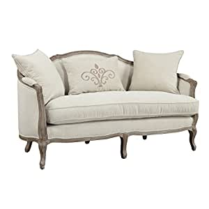 Emerald Home Salerno Sand Gray Settee, with Pillows, Feather Blend Reversible Seat Cushion, Curved Back, And Wood Trim