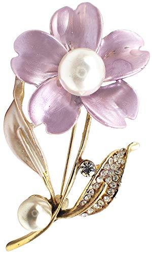 (Bijoux De Ja Gold Tone Enamel Rhinestone Faux Pearl Wild Rose Flower Design Brooch Pin (Purple))