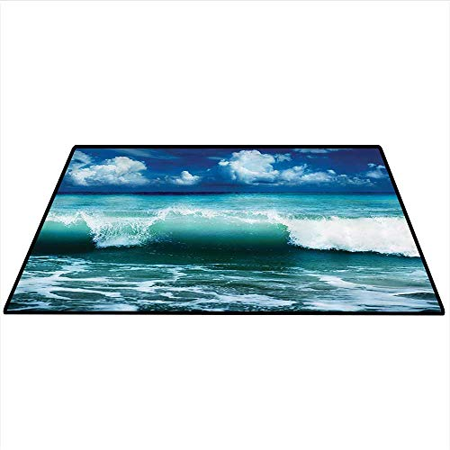 Ocean Surf Waves Decor Anti-Skid Area Rug Caribbean Sea and Water Splash Picture for Surfers Theme Print Artwork Living Dinning Room and Bedroom Rugs 3'x5' (W90cmxL150cm) Navy Blue -