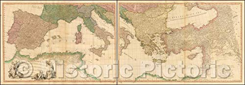 Historic Map - Mediterranean Sea with the Adjacent Regions and Seas in Europe, Asia and Africa. London: Printed for W. Faden, Geographer to the King, 1785 v2 70in x 24in