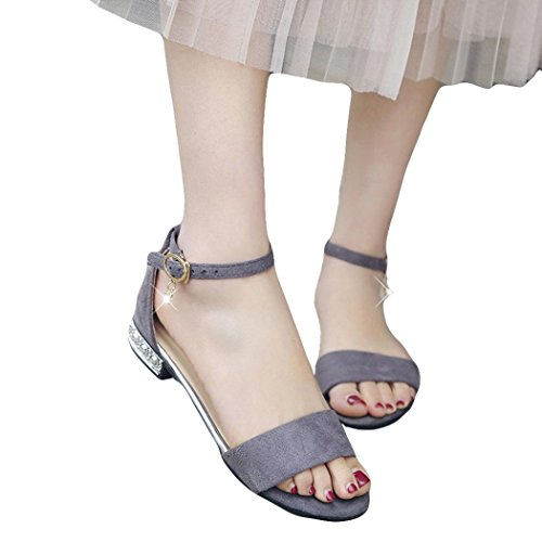 HLHN Women Sandals,Fish Mouth Ankle Buckle Strap Flat Block Heel Peep-Toe Shoes Casual Lady Summer Gray