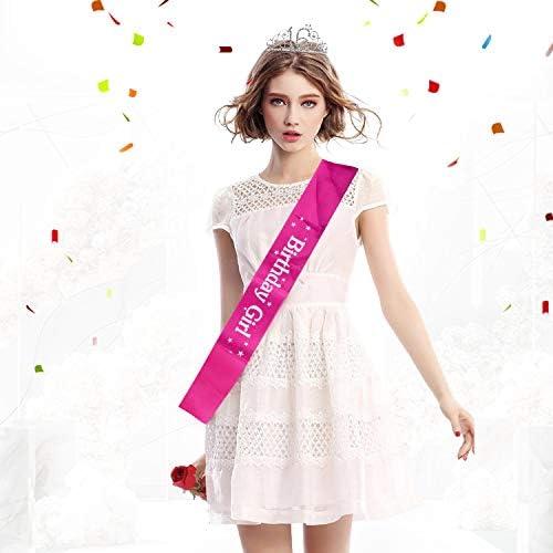 ZWOOS Cristal Cumplea/ños Corona Princesa Feliz Cumplea/ños de N/úmero 16 Accesorios con Peine Faja de Cumplea/ños para Suministros para Fiestas de Feliz cumplea/ños Decoraciones Favores