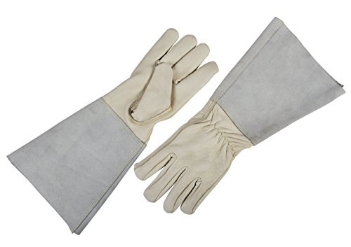 Gardtech Rose Pruning Gloves Unisex Protective Gloves Thorn Proof Goatskin Leather Gardening Glove with Cowhide Long Sleeves (Medium)