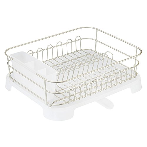 InterDesign Classico Dish Drainer with Swivel Spout For Kitchen Countertop - Satin/FROST (Dish Pans Plastic Black compare prices)