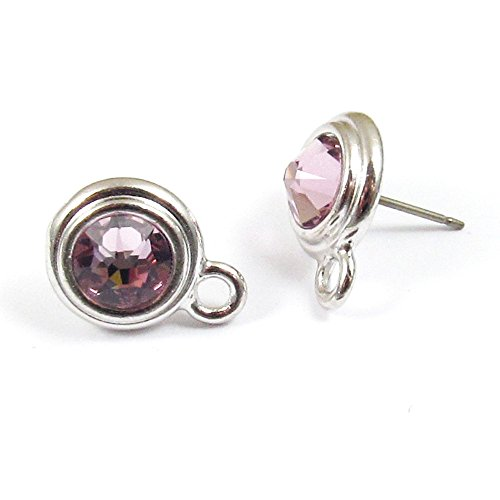 Amethyst Swarovski Earrings Light (June Swarovski Crystal Birthstone Earring Posts-LIGHT AMETHYST & SILVER (1 Pair))