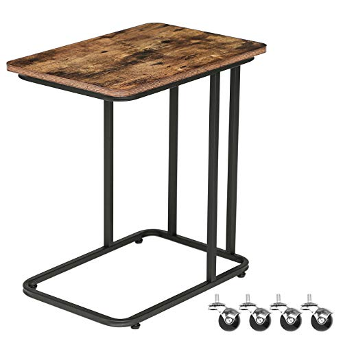 HOOBRO Side Table, Industrial Mobile Snack Table for Coffee Laptop Tablet, for Living Room, Bedroom, Easy Assembly, Space Saving, Slides Next to Sofa Couch, Wood Look Accent Furniture BF01SF01