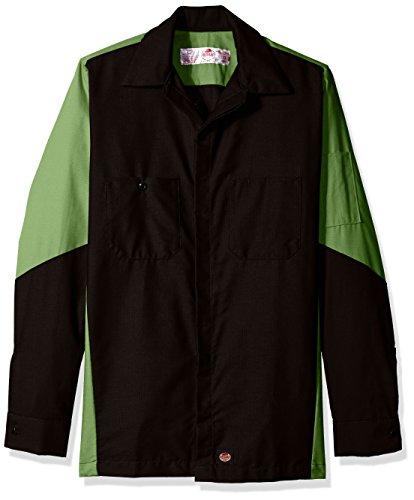 (Red Kap Men's Ripstop Long-Sleeve Crew Shirt, Black/Lime X-Large)