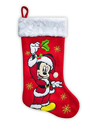 """Disney Mickey Mouse Holiday Stocking 18"""" Red"""
