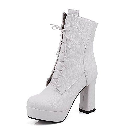 AgooLar Damen Niedrig-Spitze Ziehen auf Blend-Materialien Hoher Absatz Rund Zehe Stiefel, Weiß, 33