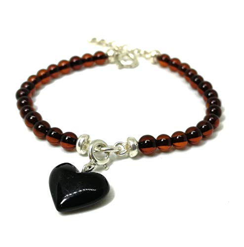 Baltic Amber Bracelet for Adults- Adjustable Size 7 to 7.48 inches (17-19cm) Heart Shape Amber Pendant with Cherry Amber Beads, Natural Pain Relief to Help migraine, Sinus, Arthritis and More!
