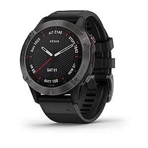 Garmin Fenix 6 Sapphire Montre GPS Multisport Gris Carbone avec Bracelet Noir