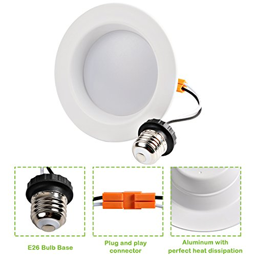 Hykolity 4 inch LED Recessed Downlight, 10W 700LM Dimmable Retrofit Recessed Can Downlight, 3000K Warm White, Damp Location, 50W BR20/65W BR30 Replacement- 12 Pack by hykolity (Image #3)