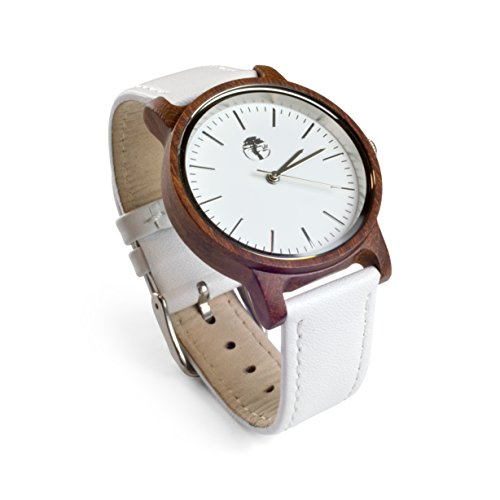 Viable Harvest Women's Wood Watch, Natural Red Sandalwood with Genuine White Leather Strap and Gift Box