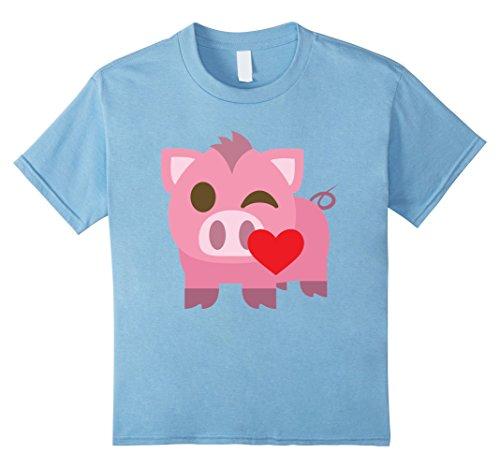 Kids Pig Emoji Flirt & Blow Kiss Shirt T-Shirt Piglet Tee 10 Baby Blue (Infant Piglet Costume)
