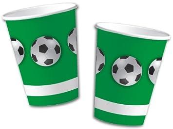 10 vasos de papel * Fútbol - Verde * para fiestas y ...