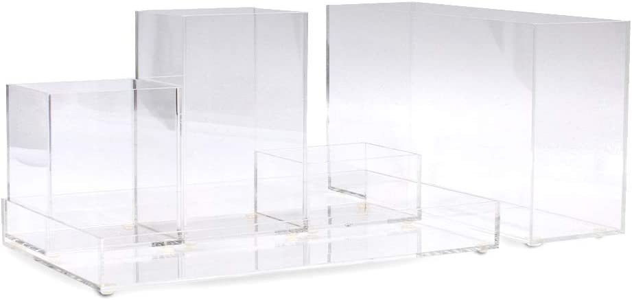 Acrylic Desk Organizer- 5 Pieces- Clear Desk Accessories Organizer Pen Pencil Holder Office Desktop Organizer Set
