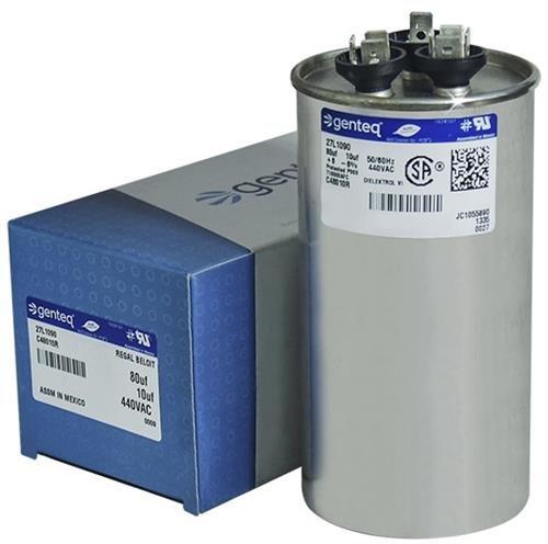27L1090-80 + 10 uf MFD 440 Volt VAC - Genteq Round Dual Run Capacitor Upgrade