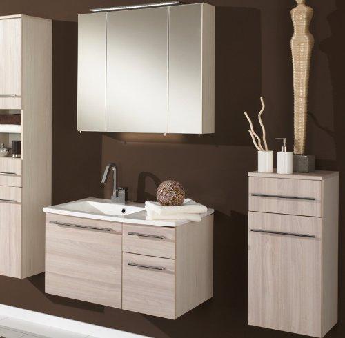 Badezimmer 3tlg Set In Pinie Honig LED Spiegelschrank Waschplatz Badmöbel Bad  Günstig Bestellen