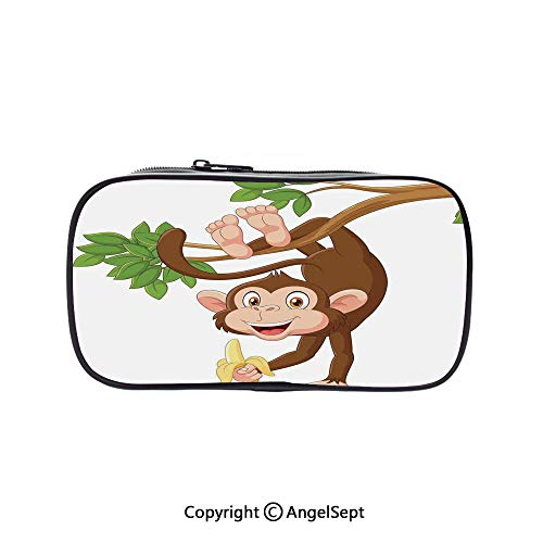 Pencil Holder with Handle Strap Handy Colored,Funny Monkey Hanging from Tree with Banana Jungle Animals Theme Mascot Print Decorative Chocolate White 5.1inches,Large Capacity Students Stationery]()