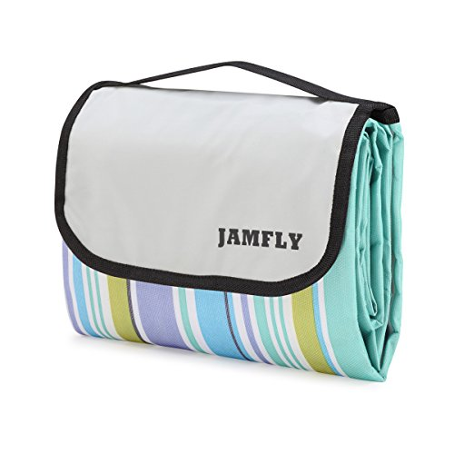 JAMFLY Picnic Outdoor Camping Beach Blanket Mat with Water-Resistant Backing 78