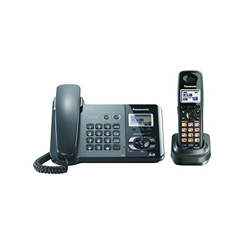 Panasonic KX-TG9391T 2-Line Corded/Cordless Phone, Metallic Black, 1 Handset by Panasonic