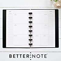 "BetterNote July 2020 - June 2021 Academic HORIZONTAL Weekly & Monthly Calendar for Disc-Bound Planner, Half Letter Size, Fits 8 Disc Circa Junior, Arc Jr, 5.5"" x 8.5"" Classic (Notebook Not Included)"