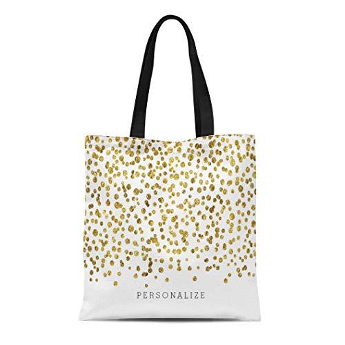 Ablitt Tote Bag Shoulder Bags Canvas Sparkly Gold Glam Confetti Chic Girly Personalized Glitz Grocery bag Women's Handle Shoulder Tote Shopper Handbag