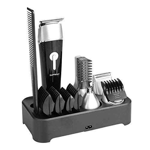 Beard Trimmer Hair CIippers SUPRENT Cordless Hair Trimmer Fast&Quick Charge, 5-in-1&100% Waterproof Beard Trimmer with Sideburns Trimmer,Facial Trimmer,Nose Hair Trimmer,Cordless Beard Trimmer
