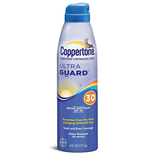 Coppertone UltraGuard Continuous Spray Sunscreen SPF 30 6 oz (Pack of 3)