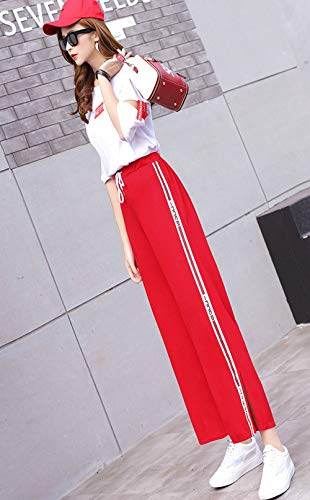 Casual Comodo Pantaloni Elasticizzati Pantalone Sportivi Rosso Traspirante Semplice Straight Unita Sottile Tinta Larghe Pants Trousers Estive Flare Boern Donna qnFaB8H